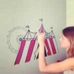mural infantil circo rojosillon