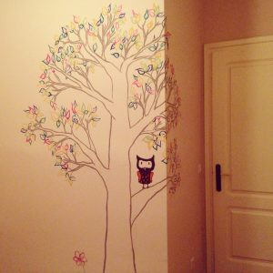 RojoSillon_Mural Infantil Pared_Buho y arbol_19