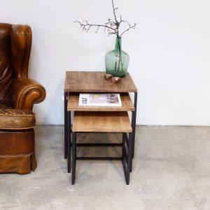 rojosillon_mesa set tres_ hierro y madera 10