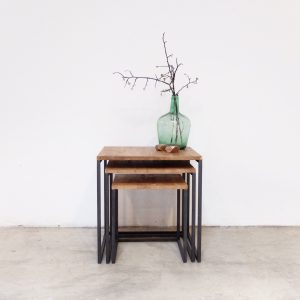 rojosillon_mesa set tres_ hierro y madera