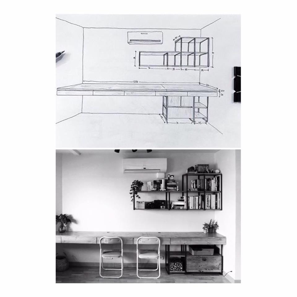 despacho mesa estanterias a medida hierro y madera rojosillon 02