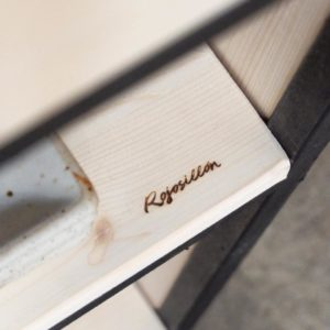 diseño de muebles a medida hierro y madera isla de cocina mesa plegable rojosillon