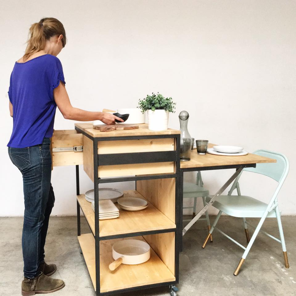 isla de cocina muebles a medida hierro y madera rojosillon